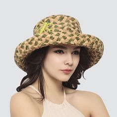 Personalized straw sun hat for women green dragonfly sun protection hats summer wear
