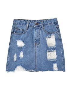 Rough Edge Ripped High Waist Denim Skirt - Denim