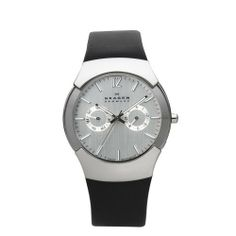 Skagen Men's 583XLSLC Swiss Stainless Steel Leather Strap Watch Skagen. $149.50. water resistant at 100 feet. 38mm diameter steel case and 9mm case thickness.. Silver metal plating and Black leather band with Buckle clasp.. Swiss Quartz Movement.. Grey dial with Hardened Mineral crystal.