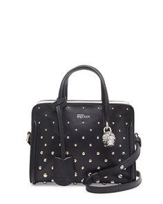 Mini+Studded+Padlock+Zip-Around+Tote+Bag,+Black/White+by+Alexander+McQueen+at+Neiman+Marcus.