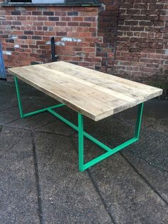 Reclaimed Industrial Chic 6-8 Seater Solid Wood and Green Metal Frame Dining Table.Bar  Cafe Bar Restaurant Furniture Steel Made to Measure