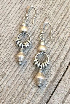 Silver drop earrings ethnic earrings tribal by RusticaJewelry