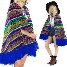70s psychedelic rainbow ethnic poncho magical by vintagegrime