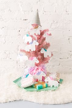 Make the Most Magical Unicorn Tree of All Time via Brit + Co | DIY Christmas Tree