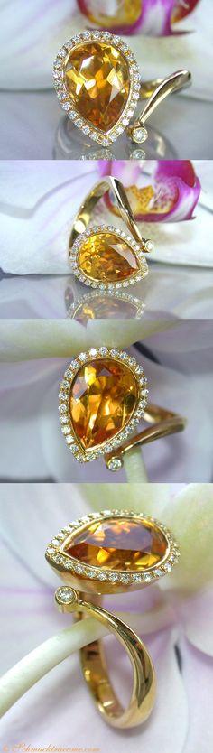 Beautiful Citrin Diamond Ring, 3,15 ct. YG18K - Visit: schmucktraeume.com - Like: https://www.facebook.com/pages/Noble-Juwelen/150871984924926?ref=hl