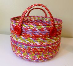 Large Fabric Coiled Basket in Bright Cheery Colors by DMcGettigan, $45.00