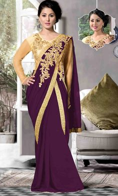 USD 51.33 Hina Khan Purple Georgette Designer Gown 48116