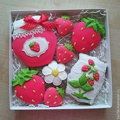 Купить Наборы Клубничное Варенье - прянички, пряник, расписные пряники, набор пряников, клубничка, цветочки