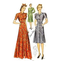 Vintage Housedress Pattern 1940s Simplicity by willynillyart, $10.00