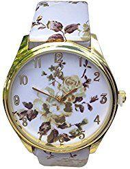 Light oro Shell Flor Impreso Mujeres Correa De Piel Sintética Casual reloj analógico cuarzo café