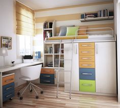 Furniture. New Beds Archaic Design Ideas Of Metal Bunk Bed With Mounted Desk And Storage Drawers Also Cabinet Book Shelves Combine White Brown Colors Covered Bedding Sheets Pillows Swivel Chair Wooden Floor Wall Paint Glass Window Color Blinds Girls Bedroom Furniture . Delightful Ideas For Beds With Desks