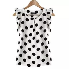 Cotton Blouses New 2017 Summer Women Kawaii Polka Dot Printing Short Sleeve Shirt Tops Plus Size Blusas Shirts Haut Femme Blouse Short Sleeve Blouse, Sleeveless Blouse, Shirt Sleeves, Ruffle Blouse, Ruffle Top, Ruffled Shirt, Long Sleeve, Chiffon Shirt, Chiffon Tops
