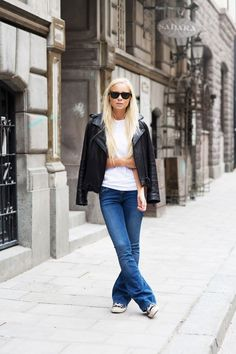How to make flared jeans casual.