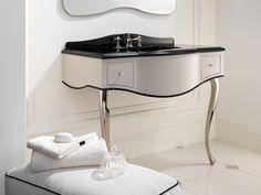 Consola para lavabo con cajones AUDREY by Devon&Devon Absolut Black, Devon Devon, Console Sink, Crystal Knobs, Black Granite, Vanity Units, Polished Nickel, Powder Room, White Ceramics