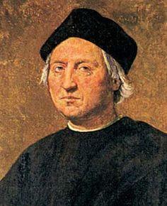 Dit is Cristoffel Columbus hij leefde van 1451 tot 1506 hij was de bekendste ontdekkingsreiziger van het tijdperk  de grote ontdekkingen hij dacht dat hij na het oversteken van de Atlantische oceaan India had bereikt omdat hij met zijn ONTDEKKINGSREIS naar India zou gaan en hij noemde de inwoners indianen maar hij had een nieuw werelddeel ontdekt Amerika.