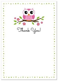 Owl thank you cards with cute, pink owl sitting on a branch. Flat note card stationery ideal as a thank you card for an owl themed baby shower.