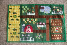 Farm mat - could paint this on plywood - ribbon roads Sewing Projects For Kids, Sewing For Kids, Diy For Kids, Felt Play Mat, Play Mats, Farm Quilt, Farm Crafts, Felt Quiet Books, Holiday Crafts For Kids