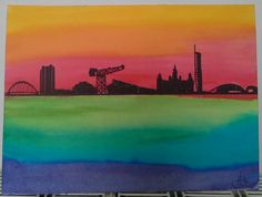 Glasgow skyline painted with brushos, by kirstyfj