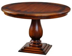"Tudor Pedestal Dining Table - Handcrafted from mahogany. - Shown in aged honey wood stain. - Item # BR-54042 - 30""H x 48"" Round - 50+ color & art options."