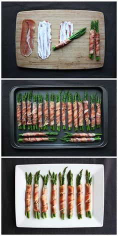 Prosciutto-Wrapped Asparagus Ingredients:AsparagusCream cheeseProsciutto (found with specialty meats in your grocery store) First, blanch your asparagus in boiling water to bring out its color. These are one of my favorite appetizers – they are so full Meat Appetizers, Appetizer Recipes, Light Appetizers, Comida Diy, Prosciutto Wrapped Asparagus, Asparagus Spears, Asparagus Appetizer, Prosciutto Recipes, Prosciutto Appetizer