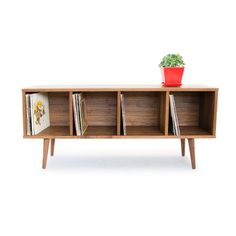 Walnut Record Storage - Mid Century Modern Credenza - Solid Wood Media Console - Danish Modern Design