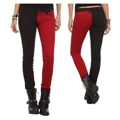 Harley Quinn Split-Leg Skinny Jeans ❤ liked on Polyvore featuring jeans, skinny fit jeans, cut skinny jeans, white jeans, skinny leg jeans and denim skinny jeans
