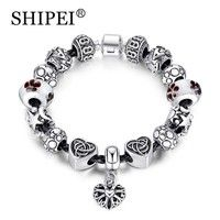 Wish   SHIPEI Antique Silver Charm Bracelet With Clear Murano Glass Beads DIY Jewelry Crystal  ABA050