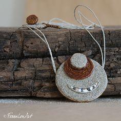Necklace. Hemp twine, sand and seashells' chips. | Handamade by FossalonArt