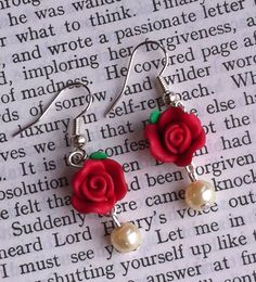 Red Rose Polymer clay Earrings by PoppysParlour on Etsy, £5.00