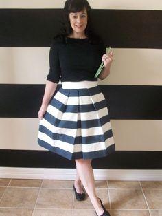 Navy striped skirt. Super cute