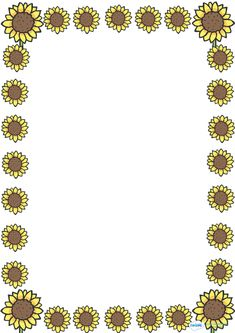 Sunflower Full Page Borders Page Borders Design, Border Design, Borders For Paper, Borders And Frames, Page Boarders, Frame Template, Writing Template, Tag Templates, Sunflower Images