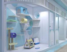 Hotel Lobby Interior Design, Hotel Room Design, Cat Wall Furniture, Furniture Design, Cat House Plans, Cat Hotel, Cat Enclosure, Cat Condo, Cat Room