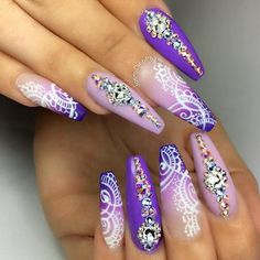 Embellished purple coffin nails
