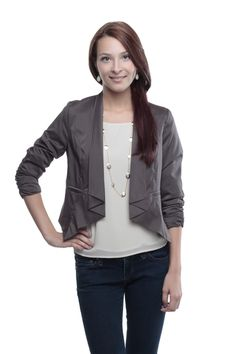 Jacket with Ruched Sleeves