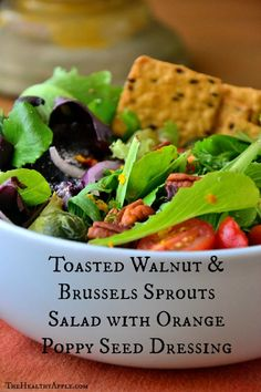 Toasted Walnut and Brussels Sprouts Salad with Orange Poppy Seed Dressing #glutenfree