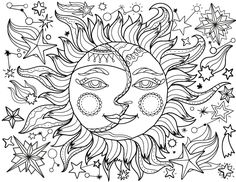 Moon Coloring Pages for Adults Lovely Pin by Muse Printables On Adult Coloring Pages at Sun Coloring Pages, Detailed Coloring Pages, Unicorn Coloring Pages, Printable Adult Coloring Pages, Mandala Coloring Pages, Free Coloring, Coloring Books, Adult Colouring In, Dragon Coloring Page