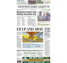 The front page of the Taunton Daily Gazette for Monday, May 11, 2015.