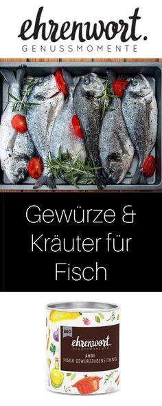 Die perfekte Gewürzmischung für Fischgerichte, egal ob am Grill oder in der Pfanne. Aus BIO Gewürzen und Kräutern wie Dill, passt es zu Süßwasserfischen und Salzwasserfischen. Einfach Fisch damit einreiben. #fisch #fischgewürz #fischmarinieren #fischmarinade  #gewürze #gewürzmischung #kräuter #spices #bio #österreich #kochen #bioküche #regional #ehrenwort #genussmomente #genießen #biologisch Food Blogs, Dutch Oven, Outdoor Cooking, Kraut, Grill, Food Inspiration, Bbq, Regional, Fish Dishes