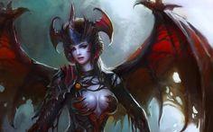 Female  Wings succubus horns armor artwork demon girl