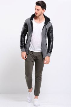 c8b612cbf7363 Kol Deri Detay Fermuarlı Füme Ceket #giyim #indirim #kampanya #bayan #erkek