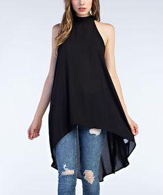 This Black Keyhole-Back Hi-Low Top is perfect! #zulilyfinds