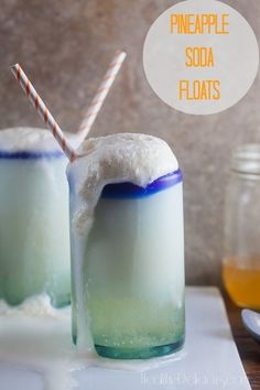 Homemade Pineapple Soda Floats | Healthy-Delicious.com. Easy homemade pineapple soda is the key to these refreshing floats.