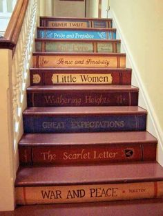 Painted stair risers with favorite books