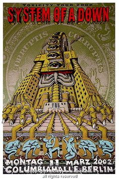 2002 System of a Down Silkscreen Concert Poster by Emek