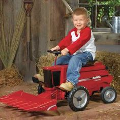 Case IH riding and pedal combine - WHERE was this when I was this age?!?!