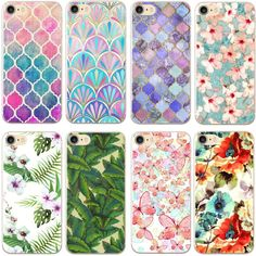 New Arrival Luruxy Case for iphone 4 4s 5 5s SE 6 6s 7 Plus 6plus Flowers Daisy Plants Fruit Cactus Leaves pattern Phone Cover