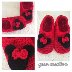 Minnie Mouse or Mickey Mouse inspired slippers by YCreation