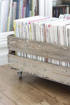 add casters to an old wooden crate