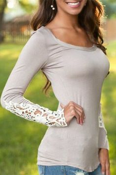 Stylish Scoop Neck Long Sleeve Hollow Out Slimming Women's T-Shirt