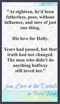 In Love in the Details, I had a great time writing a story about a couple who were given a second chance at first love, 8 years later.